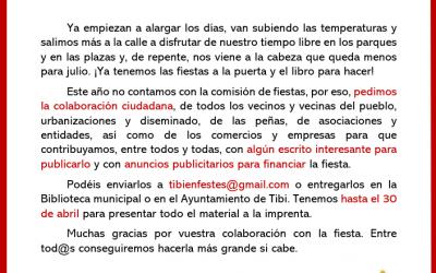 Colaboración ciudadana – Libro de fiestas Tibi 2020
