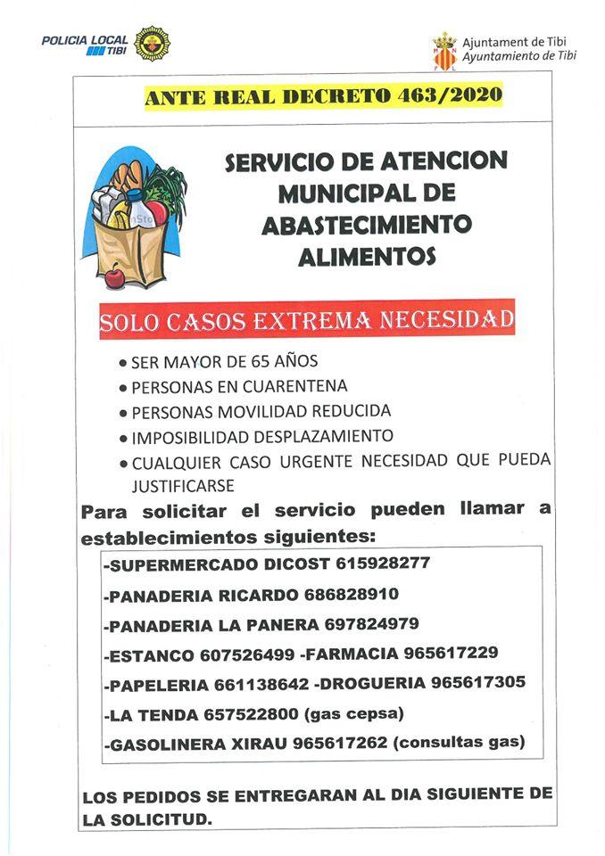 Servicio de atención municipal de abastecimiento de alimentos